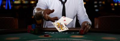 blackjack player and casino cards